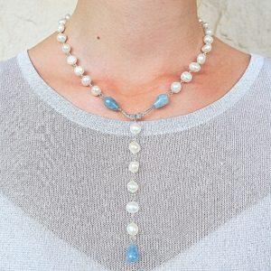ожерелье из жемчуга и аквамарина