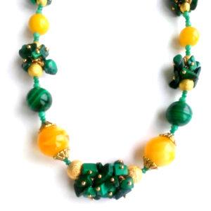 Ожерелье из Натурального Янтаря и Малахита CJ294