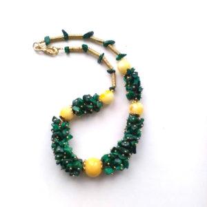 Ожерелье из Малахита и Янтаря CJ303