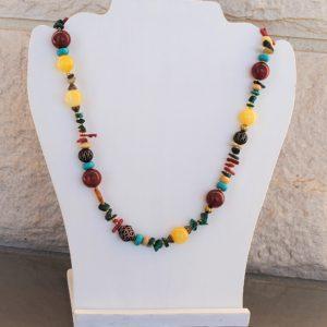 Ожерелье из Янтаря, Малахита, Коралла и Бирюзы CJ320