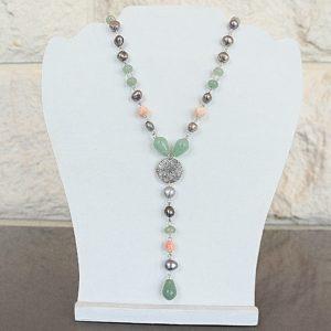 Ожерелье из Амазонита, Культивированного Жемчуга CJ318