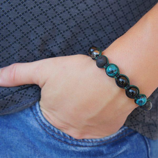 мужской браслет из хризоколлы агата гематита и лавы Cj17